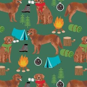 golden retriever dog camping fabric - dog fabric, camping fabric, red retriever fabric, cute pet design - green