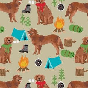 golden retriever dog camping fabric - dog fabric, camping fabric, red retriever fabric, cute pet design - tan