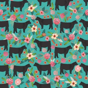 LARGE _ steer floral fabric show steer cows farm barn fabric florals design - turquoise