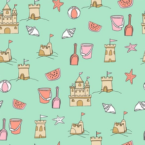 SMALL - sandcastles // beach day summer fun fabric seaside sandcastle mint