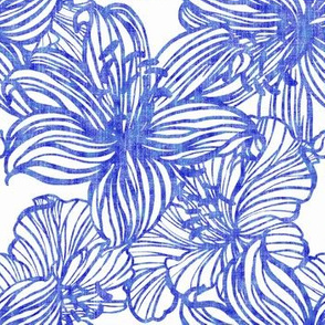 graphic tropical floral in blue line work