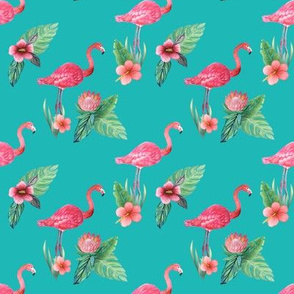 pink flamingo floral watercolor on teal