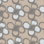 handpainted florals in beige, grey and white