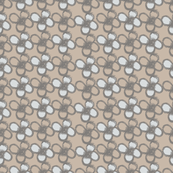 handpainted florals 3, in beige, grey and white