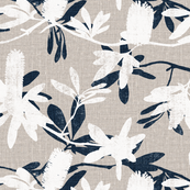 Rrev2_banksia_on_natural_linen_with_blue_leaves_shop_thumb