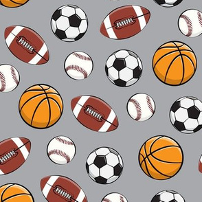 Play Ball - Sports - Basketball, football, baseball, soccer - grey - LAD19