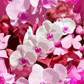 Pink Orchids Collage Art