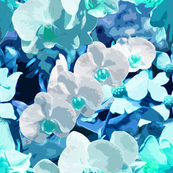 Turquoise Blue Orchids Collage Art