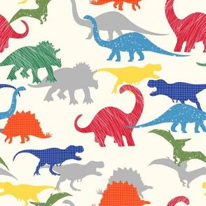 Textured Dino Silhouettes