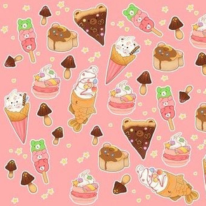 more kawaii desserts on pink