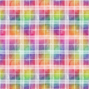 Watercolor rainbow plaid 1
