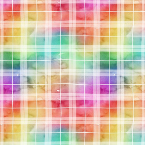 Watercolor rainbow plaid 2