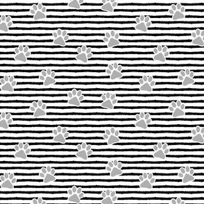 (small scale) paws on stripes (grey) C19BS
