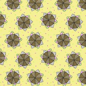 Ice cream mandala yellow