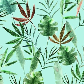 Tropical paradise on mint || watercolor palm leaves
