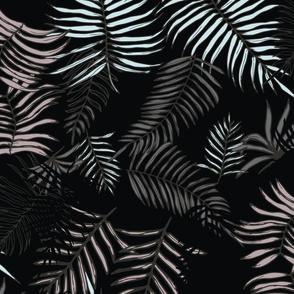 Dark Leaves Tropical Print