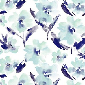 Passion flowers in blue || watercolor florals