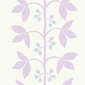 Berry Vine Stripe Lilac & Ice Blue on Cream