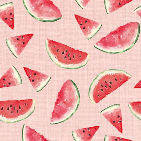 Juicy Watermelon // Blush Linen fabric by hipkiddesigns on Spoonflower - custom fabric