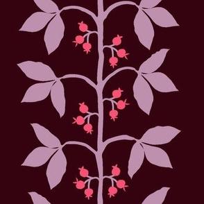 Berry Vine Stripe Red Pink