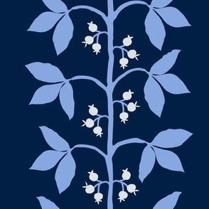 Berry Vine Stripe Navy_ Blue and Cream