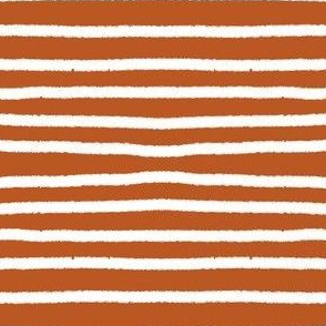 Sketchy Stripes // White on Burnt Orange