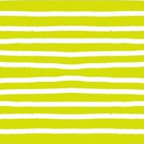 Sketchy Stripes // White on Chartreuse