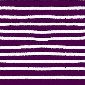 Sketchy Stripes // White on Eggplant