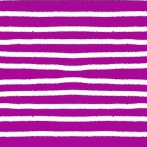 Sketchy Stripes // White on Fuchsia