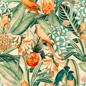 "18"" Pierre-Joseph Redouté tropicals Lush tropical vintage Jungle blossoms summer bird paradise in sepia orange"