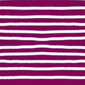 Sketchy Stripes // White on Mulberry