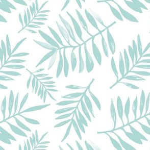 Botanical watercolor garden palm leaves summer beach monochrome mint green pastel