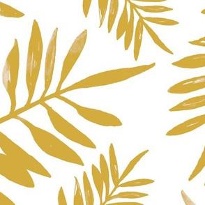 Botanical watercolor garden palm leaves summer beach monochrome yellow ochre JUMBO