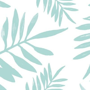 Botanical watercolor garden palm leaves summer beach monochrome mint green pastel JUMBO