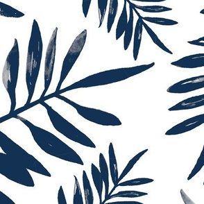 Botanical watercolor garden palm leaves summer beach monochrome navy blue JUMBO