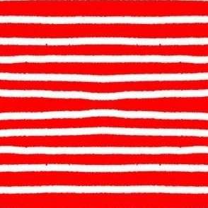 Sketchy Stripes // White on Red