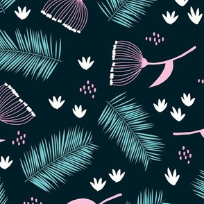 Australian wild flowers and leaves winter night print navy pink blue