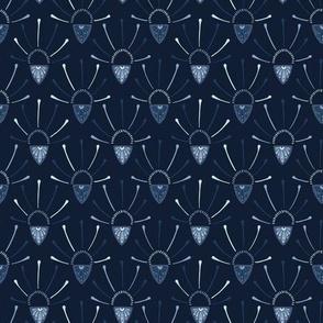Indigo blue dye flower burst decorative pattern