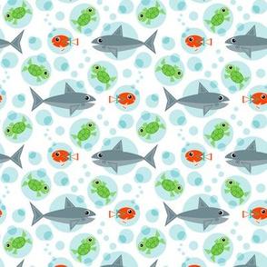 Geometric Sea Turtles, Clownfish, and Sharks