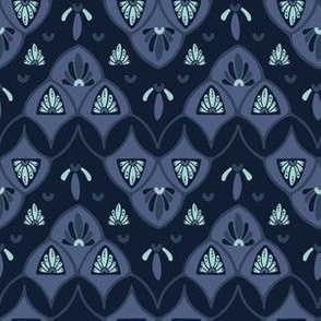 Indigo blue dye stylized floral pattern