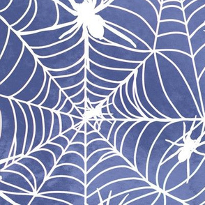 Spiderwebs - white on blue - larger scale