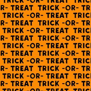 trick or treat - black on orange - large scale