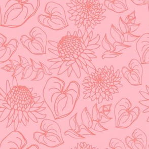 Coral on pink Tropical Floral