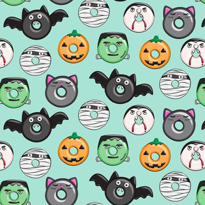 halloween donut medley - teal - large scale