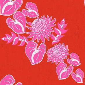 Red and pink diagonal tropical floral