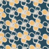 handpainted florals 2, yellow and ocean blue