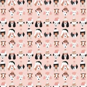 Pink Puppy Dogs in Winter Hats