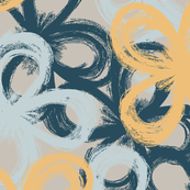 painted florals, yellow and ocean blue