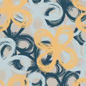 painted florals 2, yellow and ocean blue