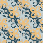 painted florals 3, yellow and ocean blue